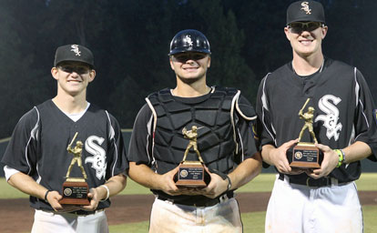 Individual awards went to, from left, Drew Tipton as top hitter, Hayden Lessenberry for MVP, and Nate Rutherford for top pitcher. (Photo by Rick Nation)
