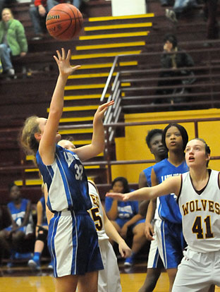 Bryant White's Allie Dugan launches a shot in the lane. (Photo by Kevin Nagle)