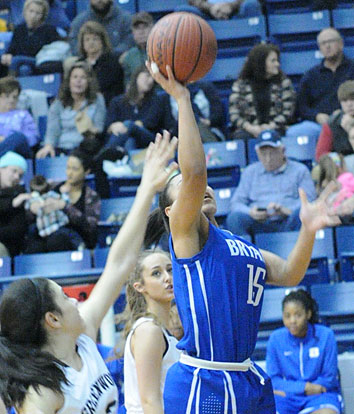 Emily Ridgell goes up for a shot inside. (Photo by Kevin Nagle)