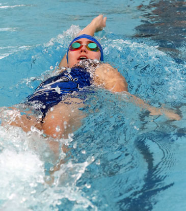 Ellie Hooten competes in the backstroke. (Photo courtesy of Jamie Hester)