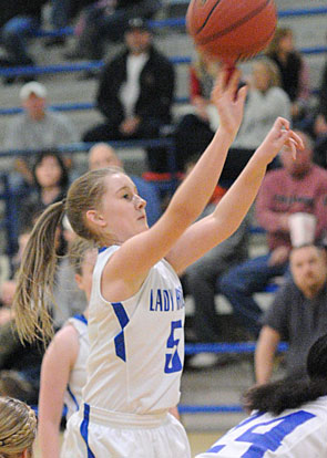 Maddie Miller launches a shot. (Photo by Kevin Nagle)