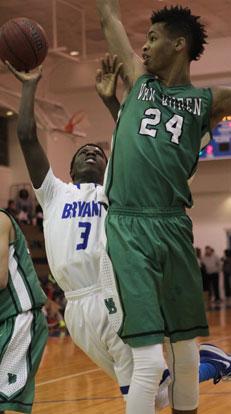 Bryant's Calvin Allen (3) somehow gets a shot past Van Buren's 6-10 Mitchell Smith. (Photo by Rick Nation)