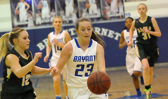 Kendall Rogers (23) drives up the court. (Photo by Kevin Nagle)