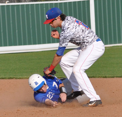 Connor Tatum slides safely into second on a steal. (Photo courtesy of Samantha Breeding)