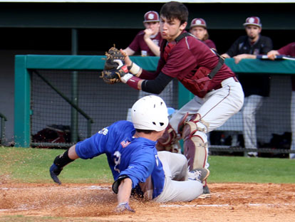 Evan Lee slides home as Siloam Springs catcher Dodge Pruitt prepares to apply a tag. (Photo by Rick Nation)