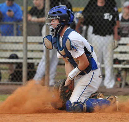 Trey Breeding blocks a pitch in the dirt. (Photo courtesy of Samantha Breeding)