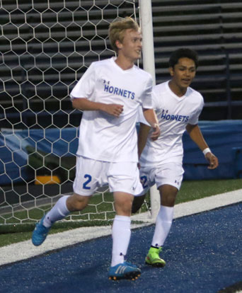 Collin Campbell (2) and Alex Ibarra celebrate a goal. (Photo by Rick Nation)
