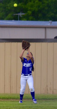 Maddie Stephens settles under a fly to right. (Photo courtesy of Jon Staton)