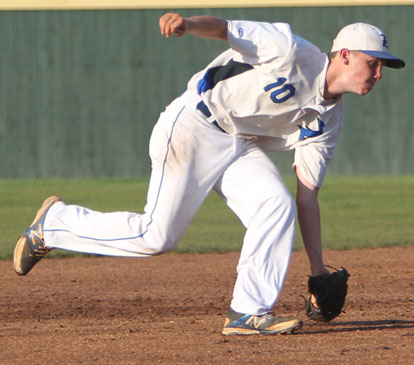 Dylan Hurt scoops up a grounder at short. (Photo by Rick Nation)