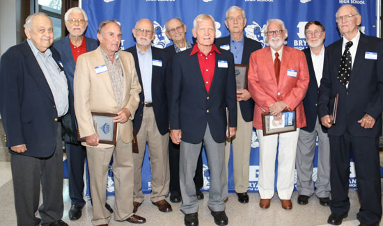 Members of the original Bryant Hornets football team in 1949 were inducted into the Bryant Athletic Hall of Honor Saturday night. (Photo by Rick Nation)