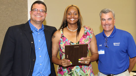 Tina Webb, with Hall of Honor director Chris Treat and athletic director Mike Lee. (Photo by Rick Nation)