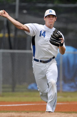 Brandon Warner of Bryant throws to first after fielding a ground ball during the first-round game against Rogers Heritage in the 7A State Baseball Championships at Bentonville High School's Tiger Athletic Complex on Thursday May 14. (Photo courtesy of Ben Goff, NWA Democrat-Gazette)