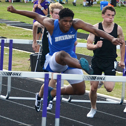Brenden Young won both hurdles races at the State meet.  (Photo courtesy of Julie Shelby)