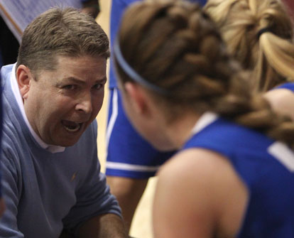 Brad Matthews instructs his team during a timeout. (Photo by Rick Nation)