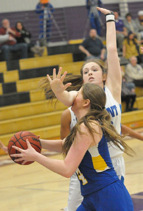 Bryant's Annie Patton defends against a Valley View player. (Photo by Kevin Nagle)