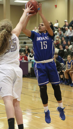 Emily Ridgell (15) fires a shot over Mount St. Mary defender Lizzie Allgood. (Photo by Rick Nation)