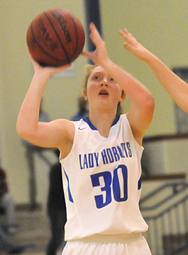 Allie Dugan eyes the basket. (Photo by Kevin Nagle)