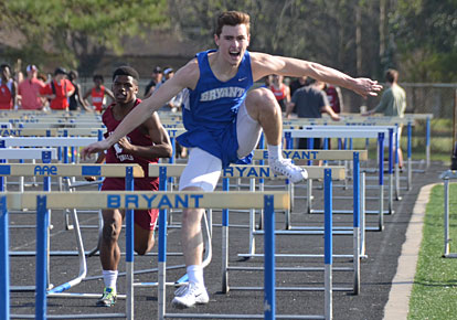 Landon Abernathy scored in both hurdles races for Bryant. (Photo courtesy of Julie Shelby)