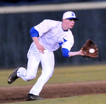 Jake East makes a play at shortstop. (Photo by Kevin Nagle)