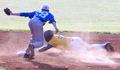 Seth Tucker (28) stays with the play and tags out Catholic's Lance Harville-Thomas after he slid beyond the second-base bag on a steal attempt. (Photo courtesy of Paul Dotson)