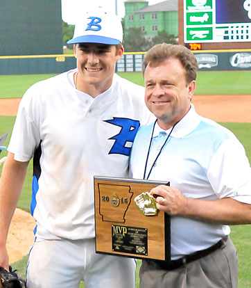 The tournament Most Valuable Player award is presented to Evan Lee. (Photo by Kevin Nagle)