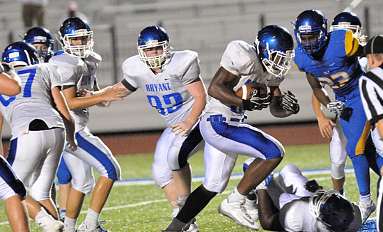 Ahmad Adams powers in for the winning touchdown in overtime. (Photo by Kevin Nagle)