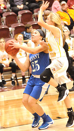 Lexi Taylor (25) is fouled by Lake Hamilton's Aspen Thornton on the way to the basket. (Photo by Kevin Nagle)